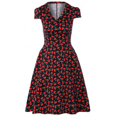 Buy BLACK Vintage V-Neck Cherry Print Fit and Flare Dress for $32.21 in GearBest store