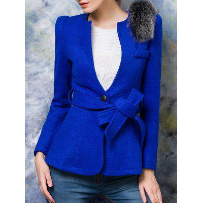 One Button Fur Embellished Slimming Wool Coat