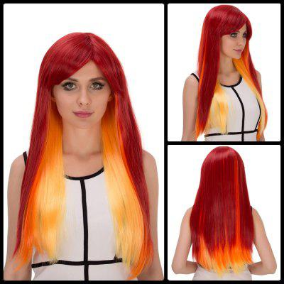Long Side Bang Straight Intense Flammate Ombre Film Character Cosplay Wig