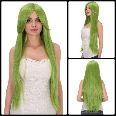 Fairy Neon Bright Green Long Side Bang Straight Film Character Cosplay Wig