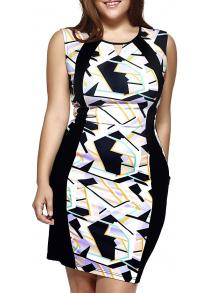 Oversized Cut Out Geometric Print Sheath Dress