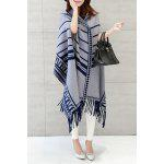 Hooded Printed Fringed Cape Cardigan