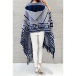 cheap Hooded Printed Fringed Cape Cardigan