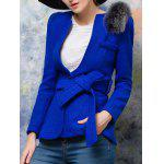 cheap One Button Fur Embellished Slimming Wool Coat