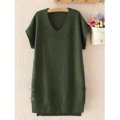 Plus Size Buttoned Short Sleeve Jumper Dress