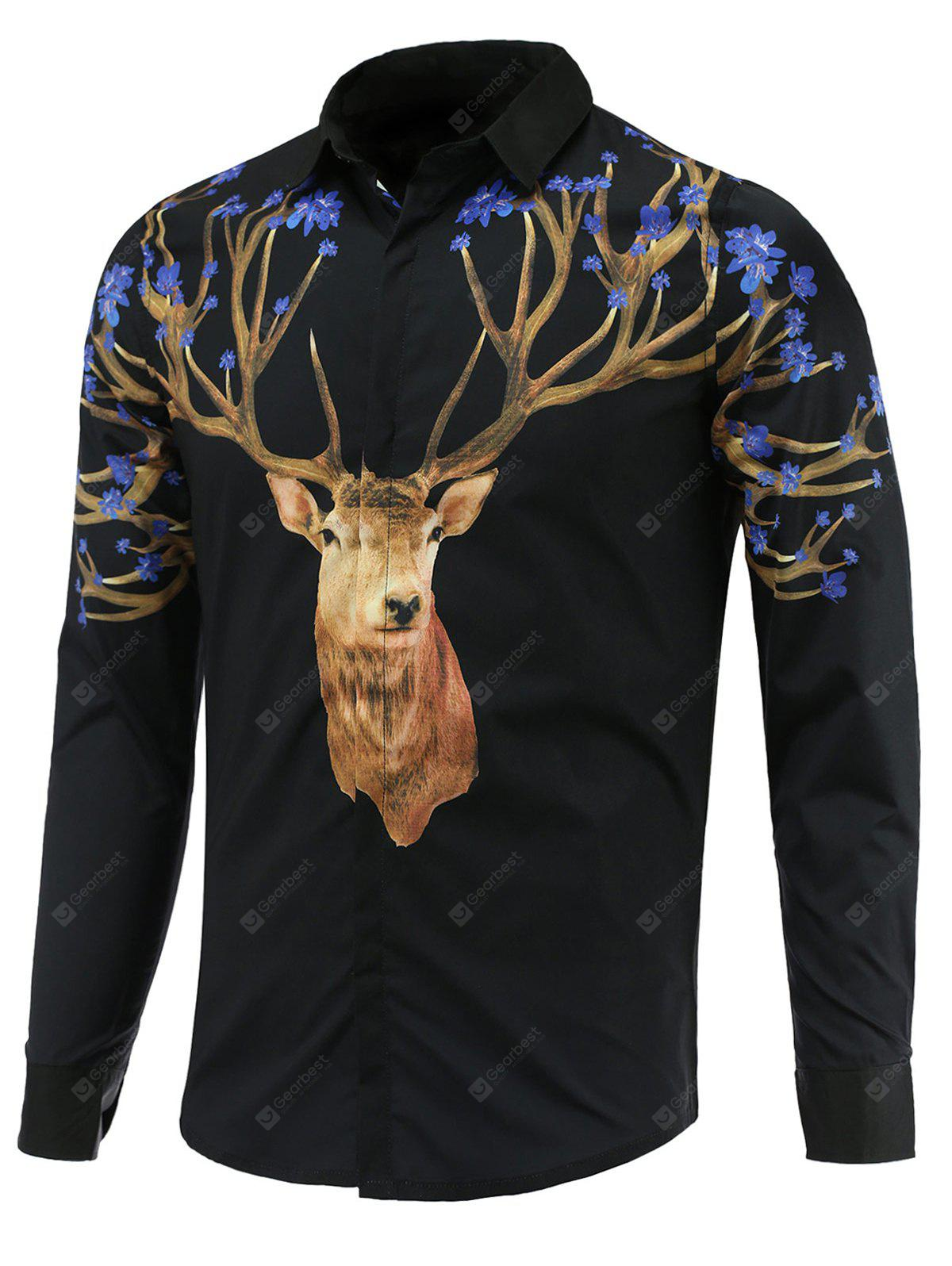 Turn-Down Collar Long Sleeve Sika Deer Printed Shirt