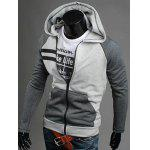 Patchwork Design Zipper Flying Casual Hoodie - GRAY