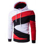 Buy WHITE Color Blocks Spliced Long Sleeve Black Red Hoodie for $19.01 in GearBest store