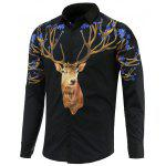 Turn-Down Collar Long Sleeve Sika Deer Printed Shirt - BLACK