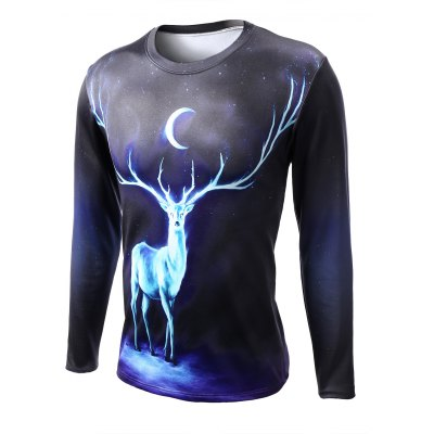 Round Neck Starry Sky 3D Deer Print Long Sleeve T-Shirt