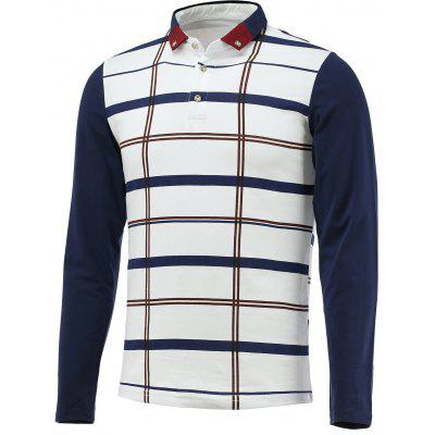 Button Down Long Sleeve Plaid Polo Shirt