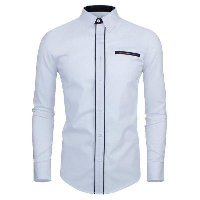 Double Welt Breast Pocket Contrast Trim Long Sleeve Shirt