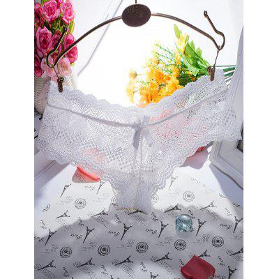 Brief Bowknot Scalloped Zigzag Pattern Lace Breifs
