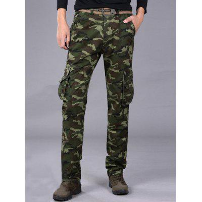 Multi-Pocket Straight Leg Camo Cargo Pants
