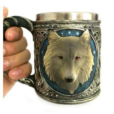 450ml Personalized Double Wall Stainless Steel 3D Wolf Head Mug new safurance 200w 12v loud speaker car horn siren warning alarm stainless steel home security safety