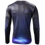 Round Neck Starry Sky 3D Deer Print Long Sleeve T-Shirt - COLORMIX