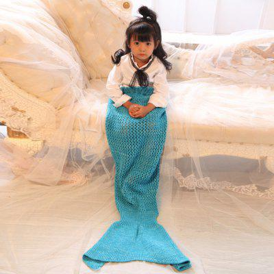 Knitted Bowknot Lace-Up Photography or Sofa Mermaid Blanket For Kids