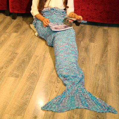 Falbala Photography or Sofa Mixed Color Knitted Mermaid Blanket