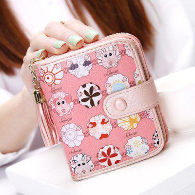 Cartoon Print Tassels Small Tab Wallet