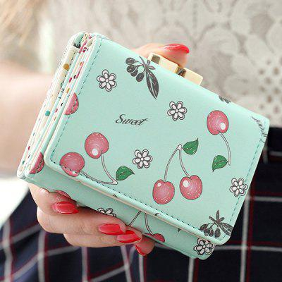 Clip Cherry Print Flap Magnetic Closure Coin Purse
