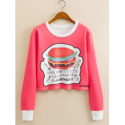 Hamburger Pattern Cropped Long Sleeve Sweatshirt