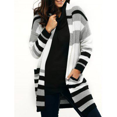 Pocket Design Striped Loose-Fitting Cardigan