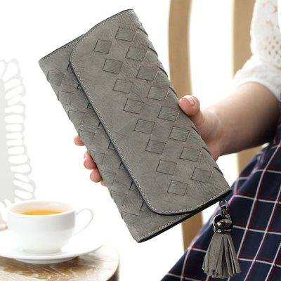 Stitching Waving Flap Tassel Cover Wallet