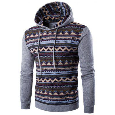 Tribal Print Hooded Long Sleeve Fleece Hoodie