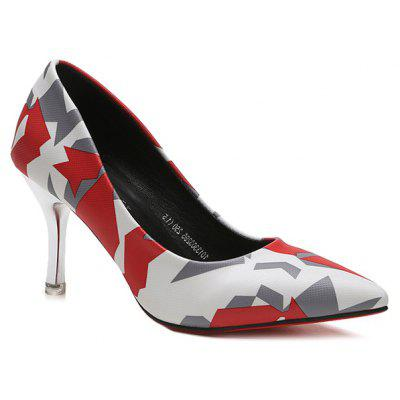 Geometric Print Stiletto Heel Pumps
