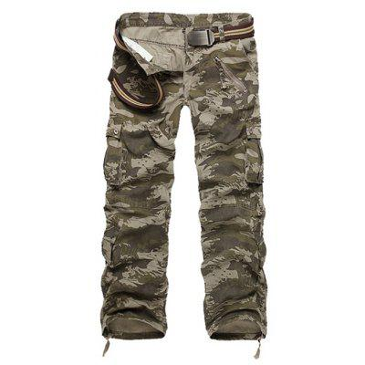 Buy Zipper Fly Straight Leg Multi-Pockets Embellished Camo Pants CAMOUFLAGE 33 for $27.56 in GearBest store