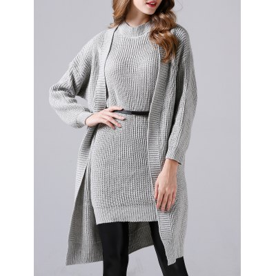 Sleeveless Sheath Knitted Dress and Long Sweater Coat