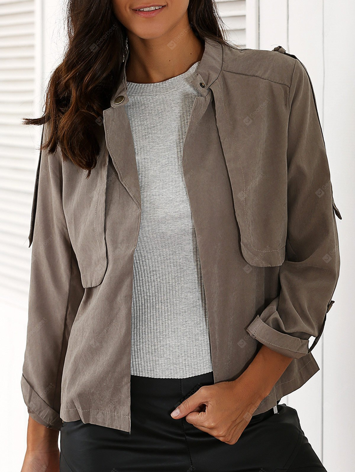 Stylish Stand Neck Long Sleeve Gray Women's Trench Coat