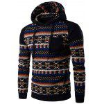 Tribal Print Pocket Hooded Raglan Sleeve Hoodie - BLACK