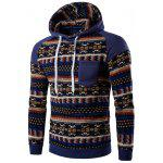 Tribal Print Pocket Hooded Raglan Sleeve Hoodie - DENIM BLUE