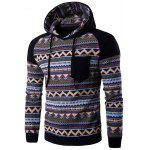 Color Block Tribal Printed Pocket Hooded Raglan Sleeve Hoodie - BLACK