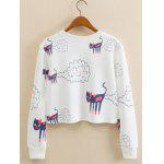 Kitten Animal Cropped Long Sleeve Sweatshirt - WHITE