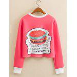 cheap Hamburger Pattern Cropped Long Sleeve Sweatshirt