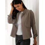 Stylish Stand Neck Long Sleeve Gray Women's Trench Coat - GRAY