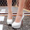Flower Pattern Patent Leather Hollow Out Pumps - WHITE