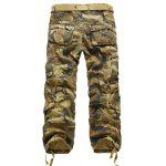 cheap Zipper Fly Straight Leg Multi-Pockets Embellished Camouflage Pants