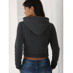 Stylish Long Sleeve Pure Color Cropped Women's Hoodie - DEEP GRAY
