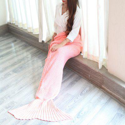 Buy PINK Braided Decor Knitting Mermaid Tail Style Soft Blanket for $25.74 in GearBest store
