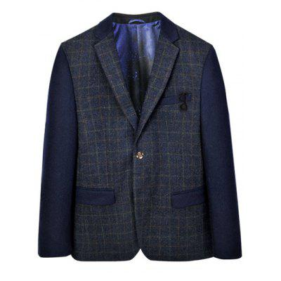 Plaid Splicing Breast Pocket Lapel Blazer