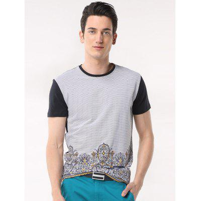 Printed Pinstriped Spliced Round Neck Short Sleeve T-Shirt ODM Designer