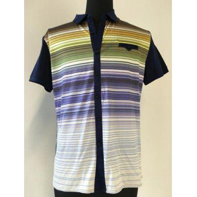 Multicolor Striped Spliced Breast Pocket Short Sleeve Shirt ODM Designer