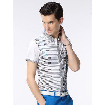 Pinstriped Button-Up Collar Turn-down chemise à manches courtes