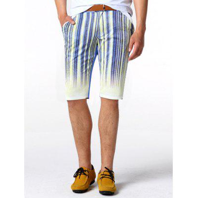 Zipper Fly Striped Knee Length Shorts ODM Designer