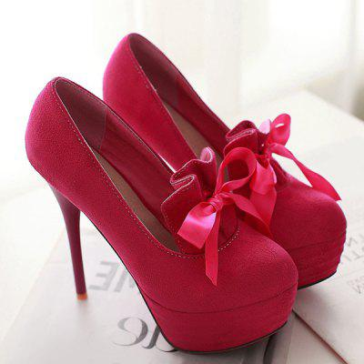Suede Ribbons Platform Pumps