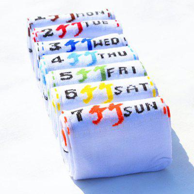 7 Pairs of Number Letter Chinese Character Pattern Socks