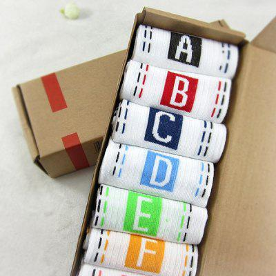 7 Pairs of Letter Square Dashed Line Pattern Socks